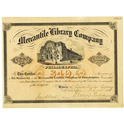 Mercantile Library Co. 1876 I/U Stock Certificate