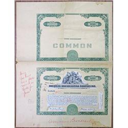 American Broadcasting Co., Inc., 1950's, Unique Proof Mockup Stock Certificate & Undertint