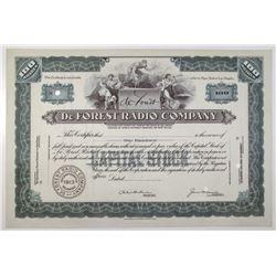 De Forest Radio Co., 1913 Specimen Stock Certificate