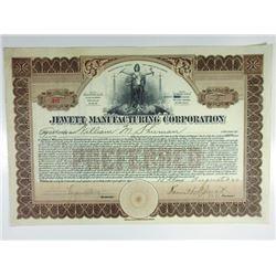 Jewett Manufacturing Corp. 1922 I/U Stock Certificate