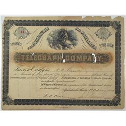Apalachicola and Marianna Telegraph Co. 1884 I/U Stock Certificate
