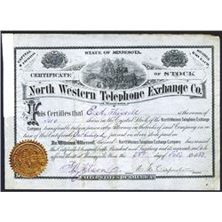 North Western Telephone Exchange Co., 1883 I/U Stock Certificate.