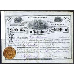 North Western Telephone Exchange Co., 1883 I/U Stock Certificate.
