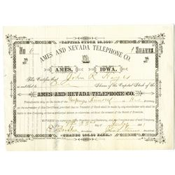 Ames and Nevada Telephone Co. 1881 I/U Stock Certificate.