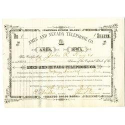 Ames and Nevada Telephone Co. 1881 I/U Stock Certificate.