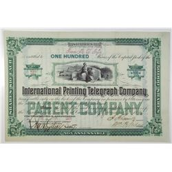 International Printing Telegraph Co. 1881 I/U Stock Certificate