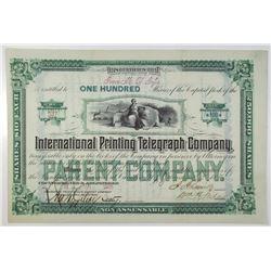 International Printing Telegraph Co. 1881 I/U Stock Certificate