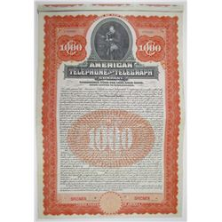 American Telephone and Telegraph Co., 1906 Specimen Bond