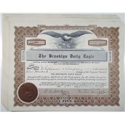 Brooklyn Daily Eagle, 1938 I/U Stock Certificate Group of 12
