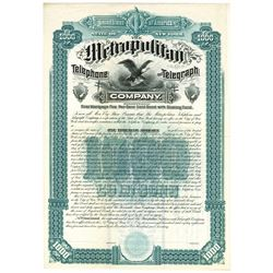 Metropolitan Telephone and Telegraph Co., 1880 Specimen Bond