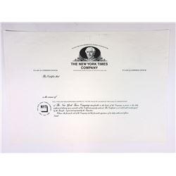 New York Times Co., 1970-80's Unique Progress Proof Stock Certificate