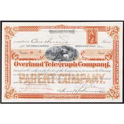 Overland Telegraph Co. 1899 I/U Stock Certificate.