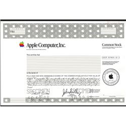 Apple Computer, Inc. 1988 Specimen Stock Certificate.