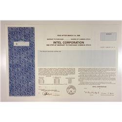 Intel Corporation, 1993 Specimen Stock Warrant Certificate
