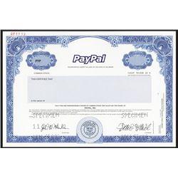 PayPal, Inc., 1999 (2001) IPO Specimen Stock Certificate - Pre-eBay.
