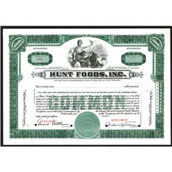 Hunt Foods, Inc., 1925 Specimen Stock Certificate.