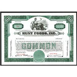 Hunt Foods, Inc., 1925 Specimen Stock Certificate.