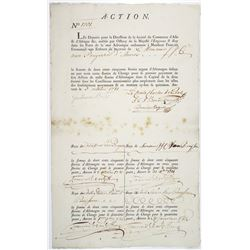 Belgium, Societe du Commerce d'Asie & d'Afrique, 1781 Share Certificate in French