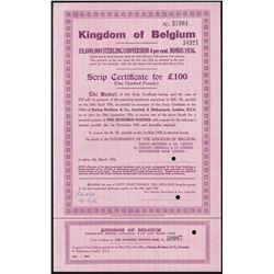 Kingdom of Belgium, 4% Bonds of 1936 Specimen.