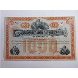 Hipotecario Garantizador de Valores, 1880's Specimen Bond