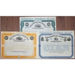 Republica de Bolivia 1870 Unissued Bond Trio