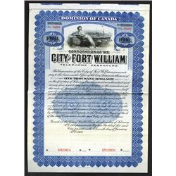 City of Fort William 1909 Specimen Bond.