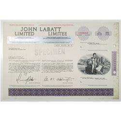 John Labatt Limited, ND (ca.1970-80's) Specimen Stock Certificate