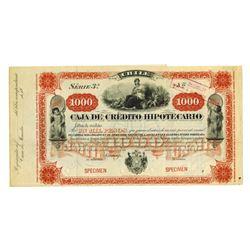Chile. Caja de Credito Hipotecario, 18xx (1880-1890's), 1000 Pesos Specimen Bond, ABNC.