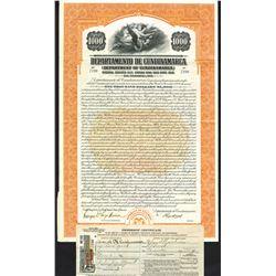 Departamento De Cundinamarca, 1928, $1000 I/U Coupon Bond.