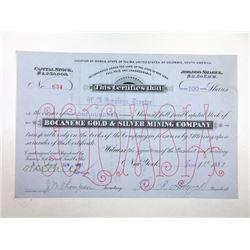 Bocaneme Gold & Silver Mining Co. 1887 I/U Stock Certificate