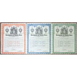 Republica de Costa Rica 1936 Specimen Bond Trio
