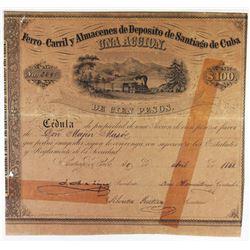 Ferro-Carril y Almacenes de Deposito de Santiago de Cuba 1861 I/U Stock Certificate