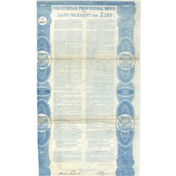 Ecuatorian Provisional Bond or Land Warrant for £100