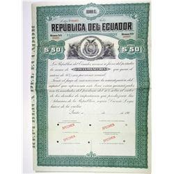 Republica del Ecuador 1904 Specimen Bond