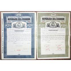 Republica del Ecuador Specimen Bond Pair, ca. 1904-1910s