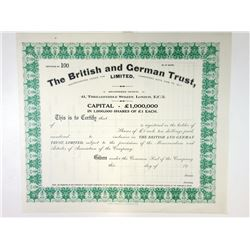 British and German Trust, Ltd. 1926 Specimen Stock Certificate