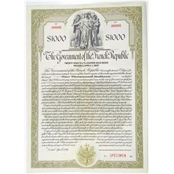 Government of the French Republic 1917 Specimen Bond