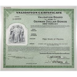 Validation Board for German Dollar Bonds, Free State of Prussia, 1927 (Issued in 1953) Specimen Cert