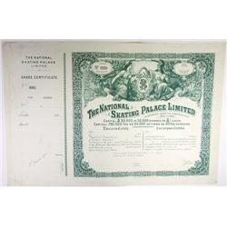 England. France. National Skating Palace Ltd. 1895 Share Certificate.
