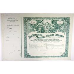 England. France. National Skating Palace Ltd. 1895 Share Certificate.