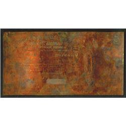 Norbury, Natzio & Co. Ltd., 1850-1900 Copper intaglio printing plate.