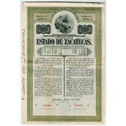 Estado de Zacatecas, 1907 1000 Pesos Letter E Specimen Bond.