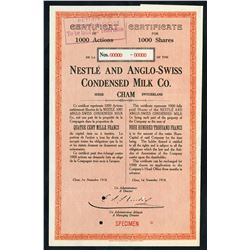 World War I Emergency Certificate. Nestle and Anglo-Swiss Condensed Milk Co. Specimen Shares. 1918