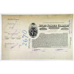 Atlas Powder Co. 1925 Progress Proof Stock Certificate