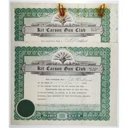 Kit Carson Gun Club, 1928 I/U Stock Certificate Pair