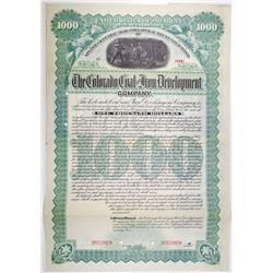 Colorado Coal and Iron Development Co. 1892 Specimen Bond