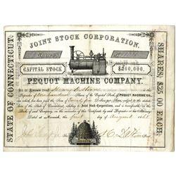 Pequot Machine Co., 1868 I/U Stock Certificate.