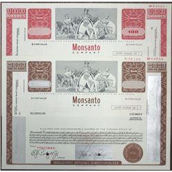 Monsanto Co. Specimen Stock Certificate Pair, ca. 1970's
