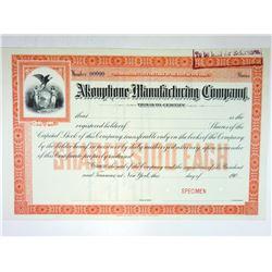 Akouphone Manufacturing Co., 190x Specimen Stock Certificate