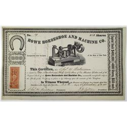 Howe Horseshoe and Machine Co. 1868 I/C Stock Certificate